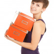 Girl with orange boxes - Lizenzfreies Foto