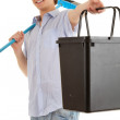 Young mwith sweep brush — Stock Photo #7326872