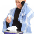 Sick young man with flu — Stock Photo