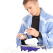 Stock Photo: Sick young man with flu