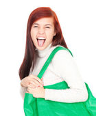Crazy girl with shopping bag — Stock Photo