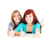 親指と女性の友達 — ストック写真
