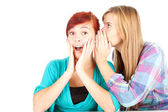 Girl whispering in friends ear — Stock Photo