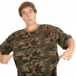 Young man in too big shirt — Stock Photo