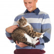 Young man with cat - Lizenzfreies Foto