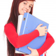 File binders and student girl - Stok fotoğraf