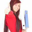 File binders and student girl with thumb up — Stock Photo