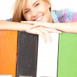 File binders and student girl — Stock Photo