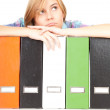 File binders and student girl - Stock Photo