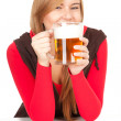 Girl with the mug of beer - Stock Photo