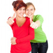 Female friends with thumbs up — Stock Photo #7340638