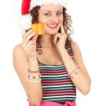 Santa girl in red Christmas hat — Stock Photo #7342255