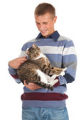Young man with cat — Stock Photo