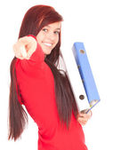 File binders and pointing student girl — Stock Photo