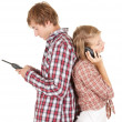 Foto Stock: Couple with mobiles