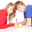 Learning students couple — Stock Photo #7361689