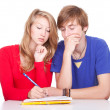 Learning students couple — Stock Photo