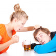 Addiction - problems with alcohol — Stock Photo