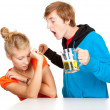 Violence with man shouting at girlfriend - Stock Photo