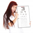 Crazy female doctor with optometry chart — Photo #7361815