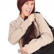Crazy girl with laptop bag — Stock Photo