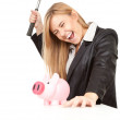 Business woman, hammer and piggy bank — Stock Photo