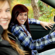 图库照片: Girl friends in car