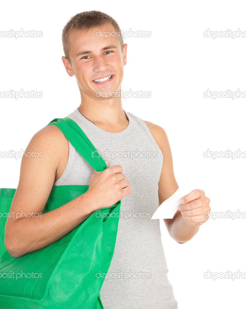 Shopping young man with green ecological bag, white background — Stock Photo #7361560