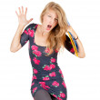 Screaming university student girl — Stock Photo