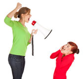 Two young woman and megaphone — Stock Photo