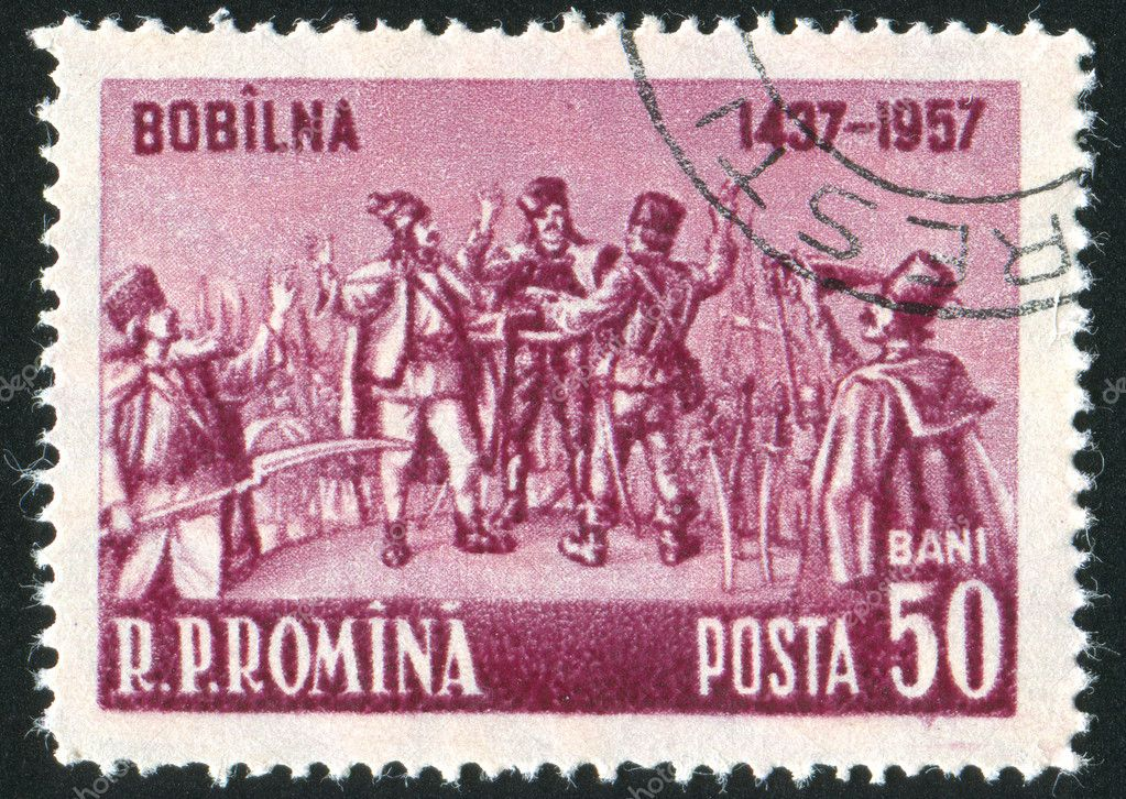 ROMANIA - CIRCA 1957: stamp printed by Romania, shows Oath of Bobilna, circa 1957  Stock Photo #6897315