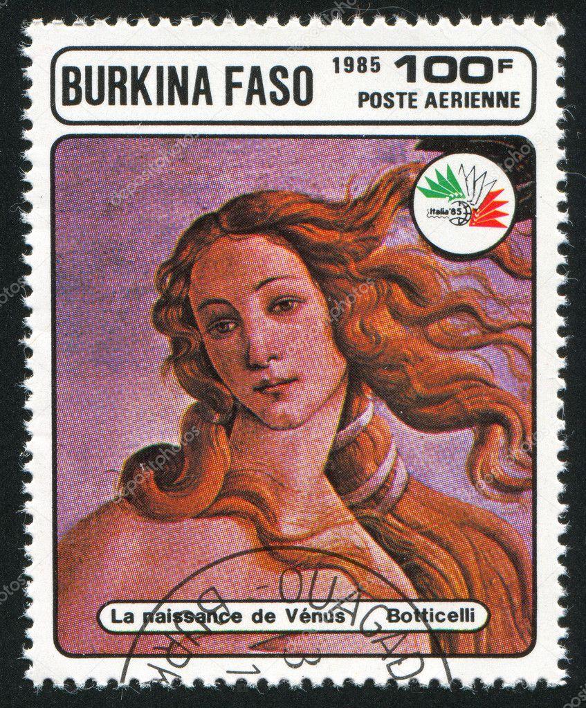 カートに追加 1985 年頃ブルキナファソ: ヴィーナスの誕生、ボッティチェリ、198...