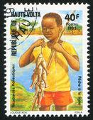 Menino pescando — Fotografia Stock