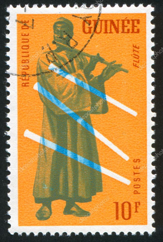GUINEA CIRCA 1962: stamp printed by Guinea, shows Flute, circa 1962 — Stock Photo #7850500
