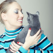Play with cat — Stock Photo