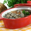 Liver spaetzle soup — Stock Photo