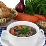 Liver spaetzle soup — Stock Photo