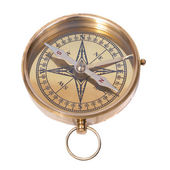 Golden ancient compass — Foto Stock