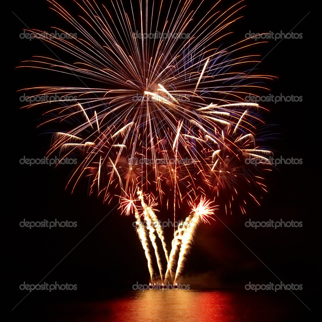 Colorful fireworks on the black sky background — Stock Photo #7382153