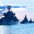 Row of military ships - Stock Photo