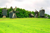 Wooden mills on the field of green grass. — Stock Photo