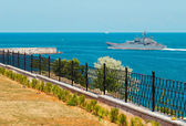Russian warship go out from the bay. — Stock Photo
