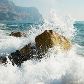 嵐。波と海の泡. — ストック写真