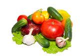 新鲜蔬菜在白色隔离. — 图库照片