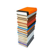 Stack of colored books isolated on white. — Stock Photo