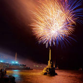 Salute, fireworks above the bay. Sevastopol. — Stock Photo