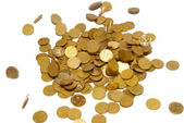 Rain of gold coins isolated on white. — Stock Photo