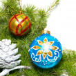 Ñhristmas baubles, fir tree and decoration isolated on white — Stock Photo
