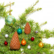 Ñhristmas baubles, fir tree and decoration isolated on white — Lizenzfreies Foto