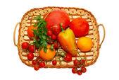 Multi ovocné v postýlce. — Stock fotografie